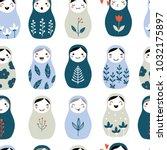 nesting doll seamless pattern.... | Shutterstock .eps vector #1032175897