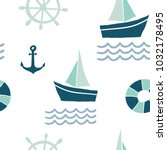seamless pattern with nautical... | Shutterstock .eps vector #1032178495