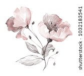 Stock photo decorative watercolor flowers floral illustration leaf and buds botanic composition branch of 1032183541