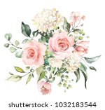 watercolor flowers. floral... | Shutterstock . vector #1032183544
