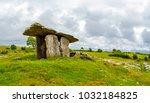 poulnabrone dolmen in ireland ...   Shutterstock . vector #1032184825