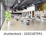 modern cozy loft office... | Shutterstock . vector #1032187591