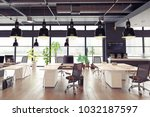 modern cozy loft office... | Shutterstock . vector #1032187597
