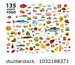 135 organic products. natural... | Shutterstock .eps vector #1032188371
