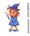 pixel art  friendly witch in... | Shutterstock .eps vector #1032188929