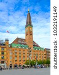 Small photo of Copenhagen, Zealand region / Denmark - 2017/07/26: panoramic view of the city center with City Hall square