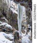 breitachklamm in winter icicles ... | Shutterstock . vector #1032194665
