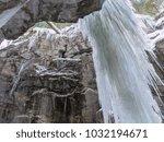 breitachklamm in winter icicles ... | Shutterstock . vector #1032194671