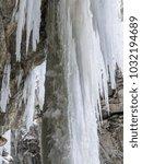 breitachklamm in winter icicles ... | Shutterstock . vector #1032194689