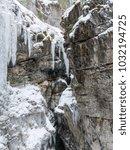 breitachklamm in winter icicles ... | Shutterstock . vector #1032194725
