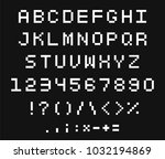 pixel font set. letter and... | Shutterstock .eps vector #1032194869
