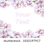 cherry blossoming frame... | Shutterstock . vector #1032197917