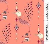exotic aztec birds seamless... | Shutterstock .eps vector #1032204229