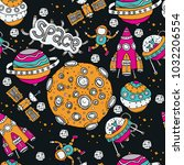 cosmic colored seamless pattern.... | Shutterstock .eps vector #1032206554