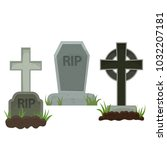 graves with a tombstone and... | Shutterstock . vector #1032207181