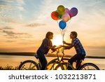 two people on romantic date... | Shutterstock . vector #1032213871