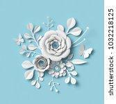 3d rendering  white paper... | Shutterstock . vector #1032218125