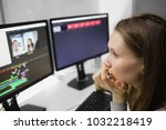 beautiful female video editor... | Shutterstock . vector #1032218419