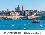 Valletta Malta city Skyline, colorful house balcony Malta Valletta