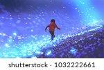 night scenery of the boy... | Shutterstock . vector #1032222661