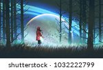 night scenery of young woman... | Shutterstock . vector #1032222799