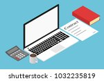 workplace  laptop  book... | Shutterstock .eps vector #1032235819