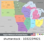 vector map of upper midwest of... | Shutterstock .eps vector #1032239821