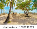 playa cayo levantado beach view ... | Shutterstock . vector #1032242779