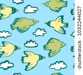 seamless pattern with birds and ... | Shutterstock .eps vector #1032244027