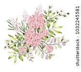 watercolor drawing of twig with ... | Shutterstock . vector #1032245581