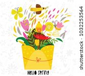 hello spring greeting card....   Shutterstock .eps vector #1032253564