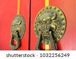 the door knocker  close up shot | Shutterstock . vector #1032256249