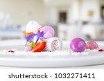 elegant dessert in plate ... | Shutterstock . vector #1032271411