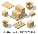 cardboard boxes and wood pallet ... | Shutterstock .eps vector #1032278344