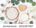 cute flat lay top view photo of ... | Shutterstock . vector #1032287587