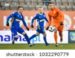 Small photo of LUBIN, POLAND - FEBRUARY 23, 2018: Match Polish Lotto Ekstraklasa between KGHM Zaglebie Lubin - Arka Gdynia 0:0. In action Michal Nalepa (L) and Alan Czerwinski (R).