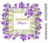 crocus flowers spring floral... | Shutterstock .eps vector #1032292039