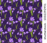crocus flowers spring pattern... | Shutterstock .eps vector #1032292951