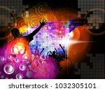 dancing people  big music event | Shutterstock .eps vector #1032305101