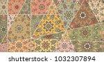 vector patchwork quilt pattern. ... | Shutterstock .eps vector #1032307894