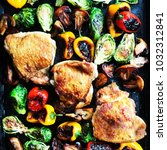 chicken sheet pan dinner   Shutterstock . vector #1032312841
