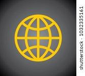 yellow globe icon on black... | Shutterstock .eps vector #1032335161