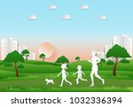 children to take a dog for a... | Shutterstock .eps vector #1032336394