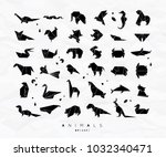set of animals in flat style... | Shutterstock .eps vector #1032340471