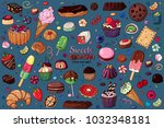 colored vector sweet stuff. set ... | Shutterstock .eps vector #1032348181