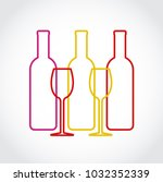 wineglass and bottles... | Shutterstock .eps vector #1032352339