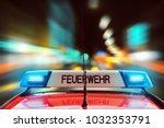 german fire engine on the... | Shutterstock . vector #1032353791