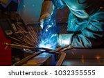 welder  craftsman  erecting... | Shutterstock . vector #1032355555