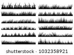 horizontal vector black grass... | Shutterstock .eps vector #1032358921