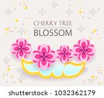 cut paper banner set with... | Shutterstock .eps vector #1032362179